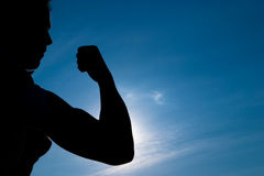 Silhouette a muscle Stock Photo