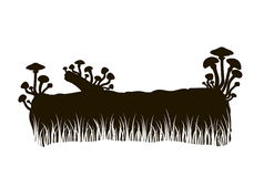 Silhouette of mushrooms on a log in the grass Stock Photography