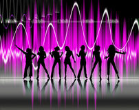 Silhouette-music. Illustration of a woman silhouette dancing royalty free illustration