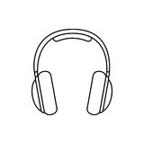 silhouette music headphones icon flat vector illustration
