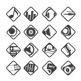 Silhouette Music and sound icons Stock Image