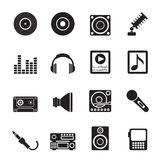 Silhouette Music and sound icons Royalty Free Stock Image