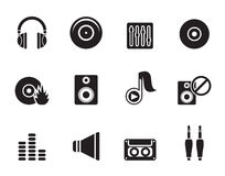 Silhouette Music and sound icons Stock Photos