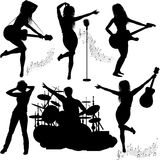 Silhouette of musical band Royalty Free Stock Photo