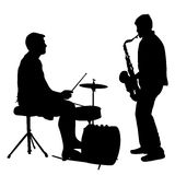 Silhouette musician, drummer and saxophonist on white background, vector illustration Royalty Free Stock Image