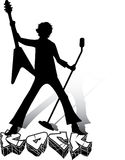 Silhouette of musician with guitar and microphone Royalty Free Stock Photo