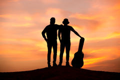 Silhouette of musician Royalty Free Stock Photo