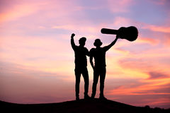 Silhouette of musician Royalty Free Stock Photography