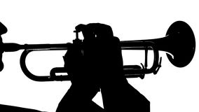 Silhouette of a musician playing on the wind instrument. In frame visible hands and face trumpeter, hands of men play on the buttons tube, musician plays fast stock video