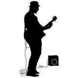 Silhouette musician plays the guitar. Vector illustration Royalty Free Stock Photos