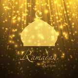 Silhouette of a muslim mosque on the shiny abstract background. Royalty Free Stock Photos
