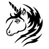 The silhouette of the muzzle is a unicorn, painted black, drawn with lines and zigrags. Logo of the mythical animal unicorn vector illustration