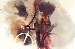 Silhouette of a naked woman with a bicycle Stock Photos