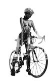 Silhouette of a naked woman with bicycle Royalty Free Stock Images