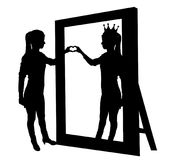 Silhouette  of a narcissistic woman and a hand gesture of heart in reflection in mirror. Silhouette  of a narcissistic woman with a crown on her head and a hand Royalty Free Stock Photography