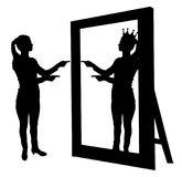 Silhouette of a narcissistic woman raises her self-esteem in front of a mirror. The concept of narcissism and selfishness stock illustration