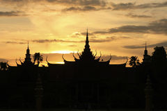 Silhouette of National Museum of Cambodia at sunset, Phnom Penh Royalty Free Stock Photo