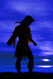 Silhouette of Native American woman arms out Royalty Free Stock Photo