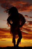 Silhouette of Native American woman front hair blowing Royalty Free Stock Image