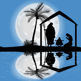 Silhouette of the nativity scene Royalty Free Stock Photos