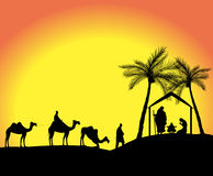 Silhouette of the nativity scene. With the three wise men in the desert Royalty Free Stock Images