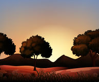 Silhouette nature scene with field and trees. Illustration Stock Photography