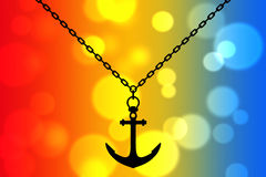 Silhouette of Necklace with Anchor. 3d Rendering. Silhouette of Necklace with Anchor on an abstract multicolor background. 3d Rendering Stock Images