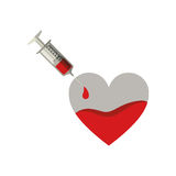 Silhouette Needle syringe donate blood in heart shape. Illustration Stock Photography