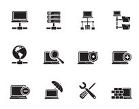 Silhouette Network, Server and Hosting icons. Vector icon set Stock Photo