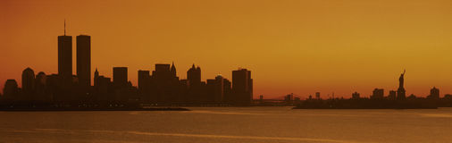 Silhouette of New York City skyline royalty free stock images