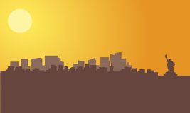 Silhouette of new york city skyline Royalty Free Stock Photo