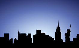 Silhouette of New-York city, USA Stock Photos