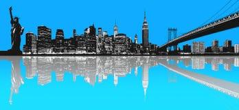 Silhouette of New York skyline. Stock Photos
