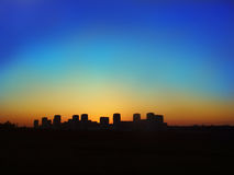 Silhouette of night city Stock Photography