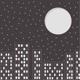 Silhouette of the night city. Stars and big moon i Royalty Free Stock Images