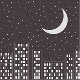 Silhouette of the night city. Stars and moon in th Royalty Free Stock Photos