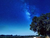 Silhouette at night. Deep astrophotography and beautiful starry sky royalty free stock image