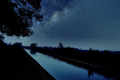 Silhouette at night. Deep astrophotography and beautiful starry sky Stock Photography