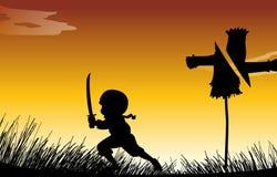 Silhouette ninja with sword Stock Image