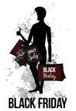 Silhouette noire d'homme de vendredi avec des paniers photos stock