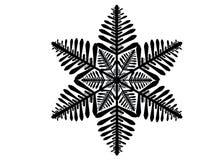 Silhouette noire d'isolement d'un flocon de neige sur un fond blanc photo stock
