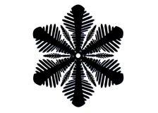 Silhouette noire d'isolement d'un flocon de neige sur un fond blanc photos stock