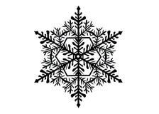Silhouette noire d'isolement d'un flocon de neige sur un fond blanc image libre de droits