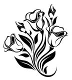 Silhouette noire d'ornement de fleurs. Images libres de droits
