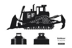 Silhouette noire de bouteur Avant, côté et vue arrière de bêcheur Dessin d'isolement industriel de bouteur illustration libre de droits