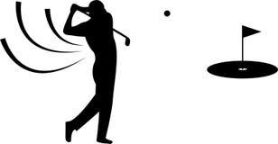 Silhouette noire de golfeur sur le fond blanc Photos libres de droits