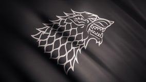 Silhouette noire de grimace de loup sur le drapeau abstrait de flottement de couleur grise, boucle sans couture Direwolf monochro photographie stock