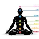 Silhouette noire de l'homme faisant le yoga en position de fleur de lotus avec des noms de chakras illustration de vecteur