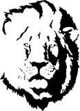 Silhouette noire de lion Photo stock