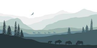 Silhouette noire de paysage de montagne Bison américain Panorama naturel des animaux de forêt Paysage occidental d'isolement illustration de vecteur
